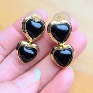 Vintage St John signed enamel hearts earrings